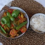 Broccoli, Snow peas, Sweet Potato And Pumpkin Curry With Mint And Basil