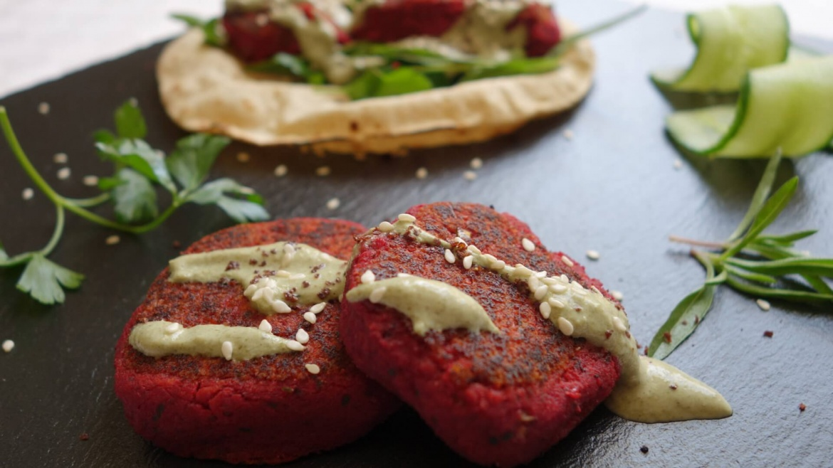 Beetroot Felafel wrap