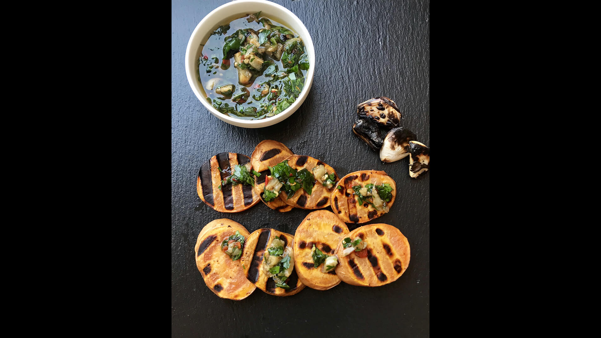 Roasted Sweet Potatoes with Parsley, mint and roasted garlic Dip