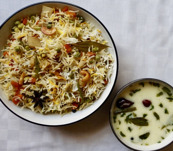 Vegetable Pulao and Kadhi